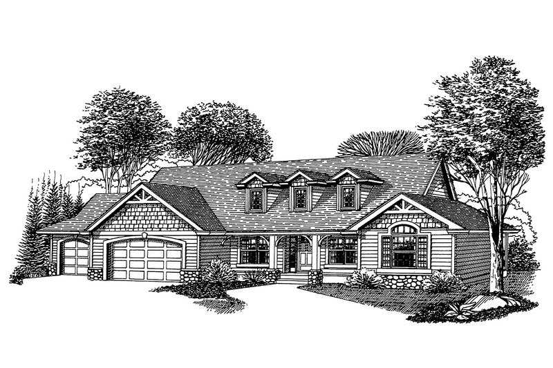 Craftsman Style House Plan - 3 Beds 2.5 Baths 2196 Sq/Ft Plan #53-542 Exterior - Front Elevation