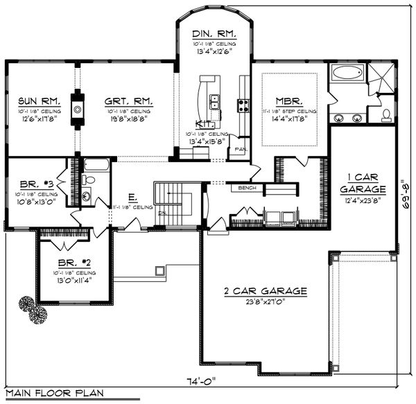 Ranch Floor Plan - Main Floor Plan Plan #70-1248