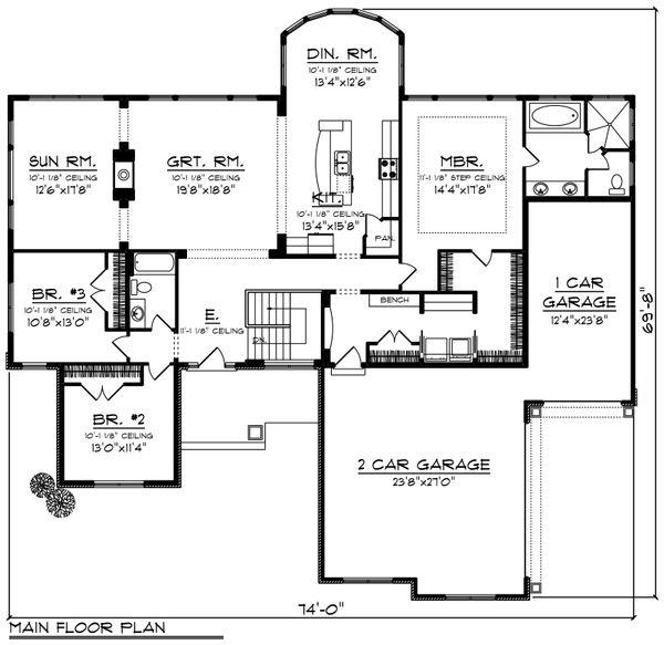 Architectural House Design - Ranch Floor Plan - Main Floor Plan #70-1248