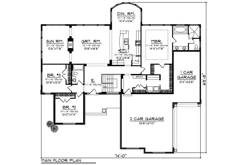 Ranch Floor Plan - Main Floor Plan Plan #70-1248