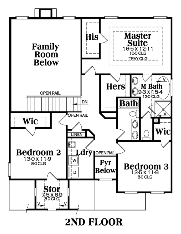 Traditional Floor Plan - Upper Floor Plan Plan #419-247