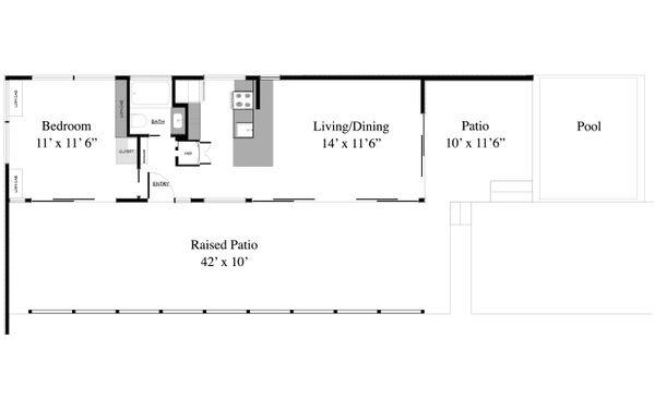 Contemporary Style House Plan - 1 Beds 1 Baths 493 Sq/Ft Plan #917-1 Floor Plan - Main Floor Plan