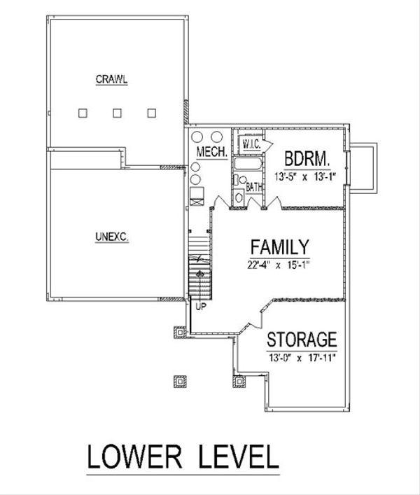 Craftsman Style House Plan - 3 Beds 3 Baths 2577 Sq/Ft Plan #458-16 Floor Plan - Lower Floor Plan