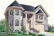European Style House Plan - 4 Beds 3 Baths 2746 Sq/Ft Plan #23-2137 Exterior - Front Elevation