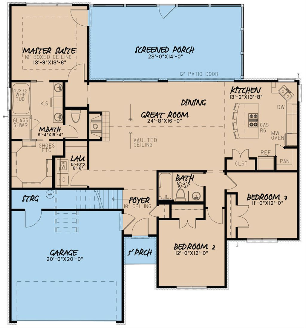 Cozy Homeplans: 3 Beds 2 Baths 1640 Sq/Ft Plan