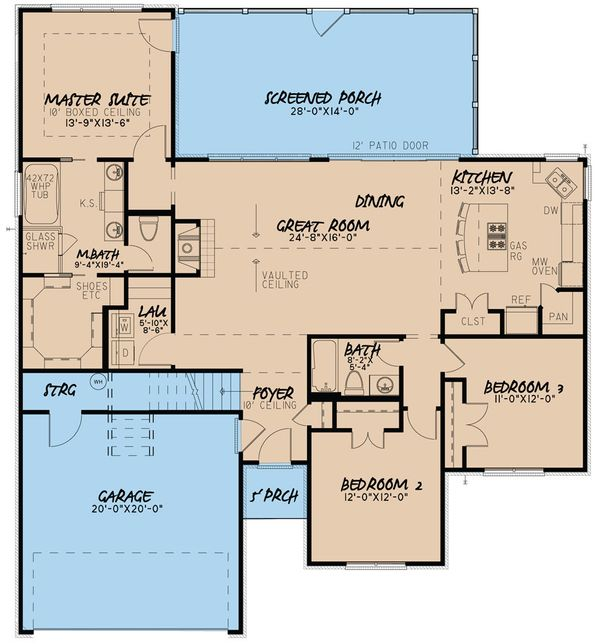 European Floor Plan - Main Floor Plan Plan #923-38