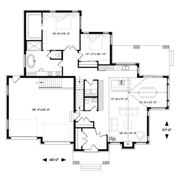Traditional Floor Plan - Main Floor Plan Plan #23-2303