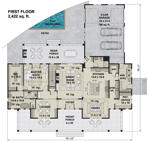Farmhouse Floor Plan - Main Floor Plan Plan #51-1160