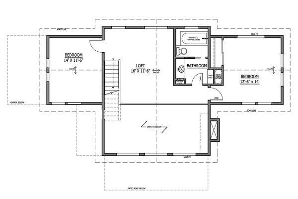 Craftsman Floor Plan - Upper Floor Plan #899-5