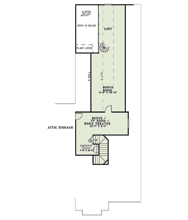 Craftsman Floor Plan - Upper Floor Plan Plan #17-2445