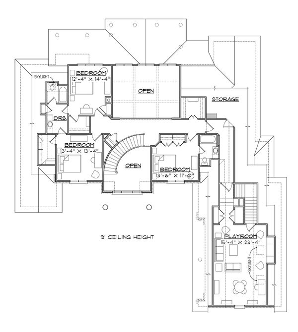 Traditional Floor Plan - Upper Floor Plan Plan #1054-24