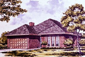 Ranch Exterior - Front Elevation Plan #30-148