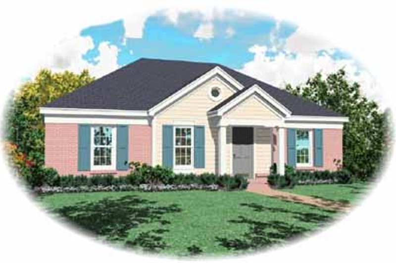 Southern Style House Plan - 3 Beds 2 Baths 1095 Sq/Ft Plan #81-123 Exterior - Front Elevation