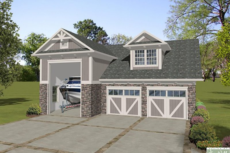 Craftsman Style House Plan - 1 Beds 1.5 Baths 840 Sq/Ft Plan #56-612 Exterior - Front Elevation