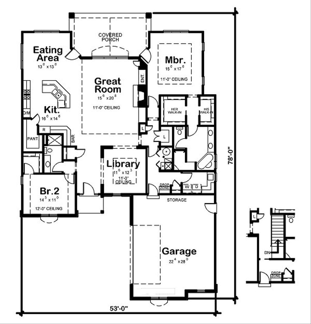 European Style House Plan 2 Beds 2 Baths 2255 Sq Ft Plan