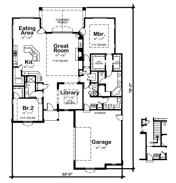 European Floor Plan - Main Floor Plan Plan #20-2046