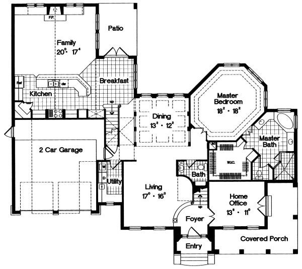 European Floor Plan - Main Floor Plan Plan #417-393