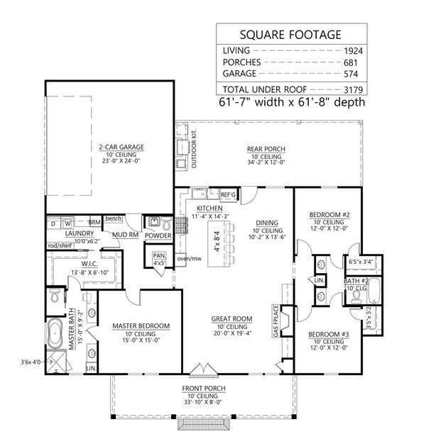 Home Plan - Farmhouse Floor Plan - Main Floor Plan #1074-44