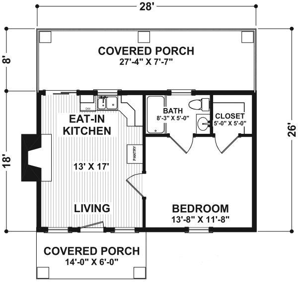 House Design - Cottage Floor Plan - Main Floor Plan #56-715