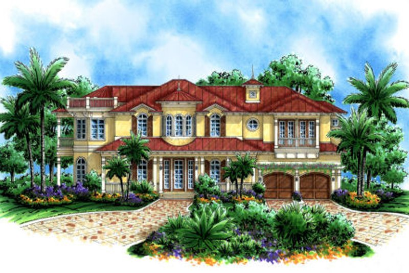 Mediterranean Style House Plan - 4 Beds 5 Baths 5079 Sq/Ft Plan #27-385 Exterior - Front Elevation