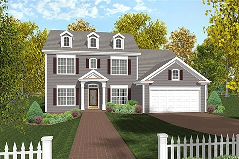 Dream House Plan - Colonial Exterior - Front Elevation Plan #56-244