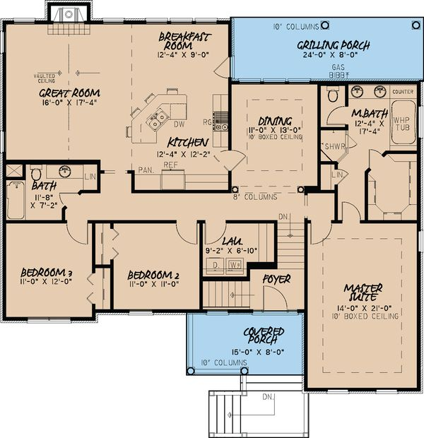 Traditional Floor Plan - Main Floor Plan Plan #923-26