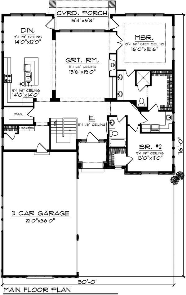 Ranch Floor Plan - Main Floor Plan Plan #70-1073