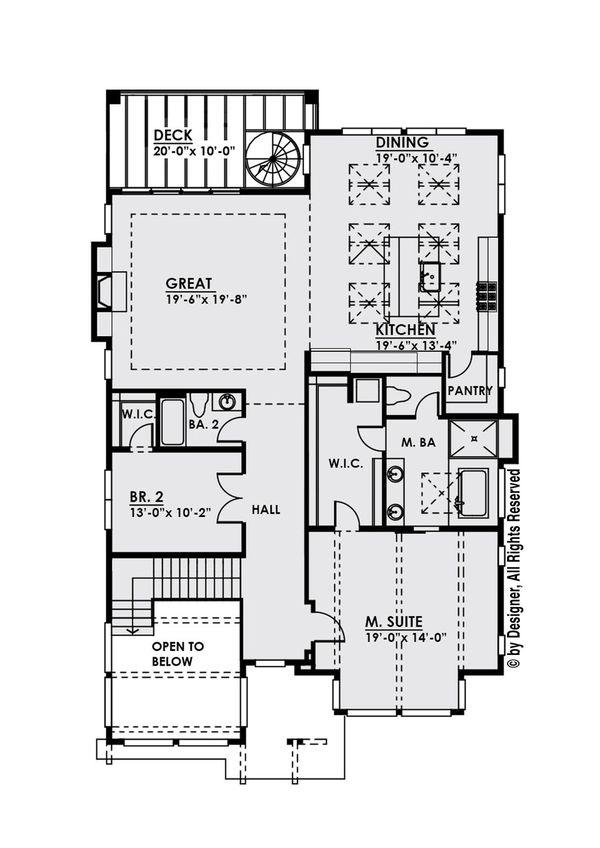 Modern Floor Plan - Upper Floor Plan Plan #1066-10