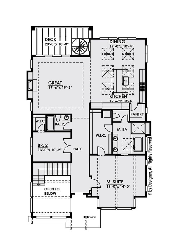 Modern Floor Plan - Upper Floor Plan Plan #1066-10