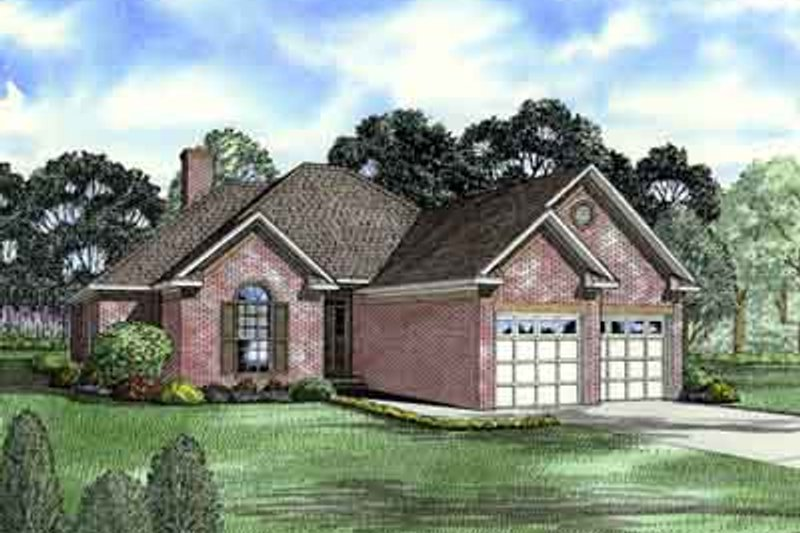 European Style House Plan - 3 Beds 2 Baths 1601 Sq/Ft Plan #17-182 Exterior - Front Elevation