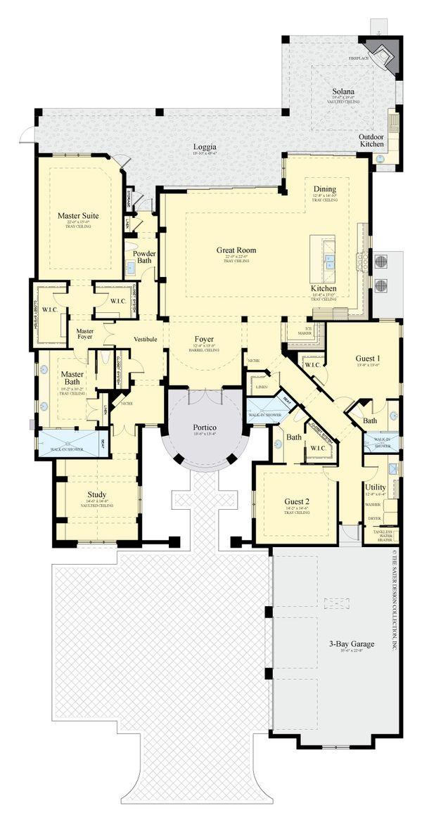 Mediterranean Floor Plan - Main Floor Plan #930-511