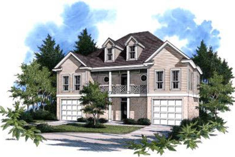 Traditional Style House Plan - 5 Beds 5 Baths 2977 Sq/Ft Plan #37-116 Exterior - Front Elevation
