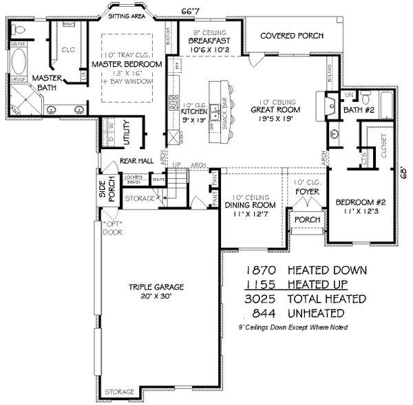 European Floor Plan - Main Floor Plan Plan #424-252