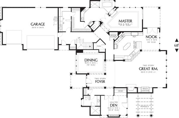 Craftsman Floor Plan - Main Floor Plan Plan #48-343