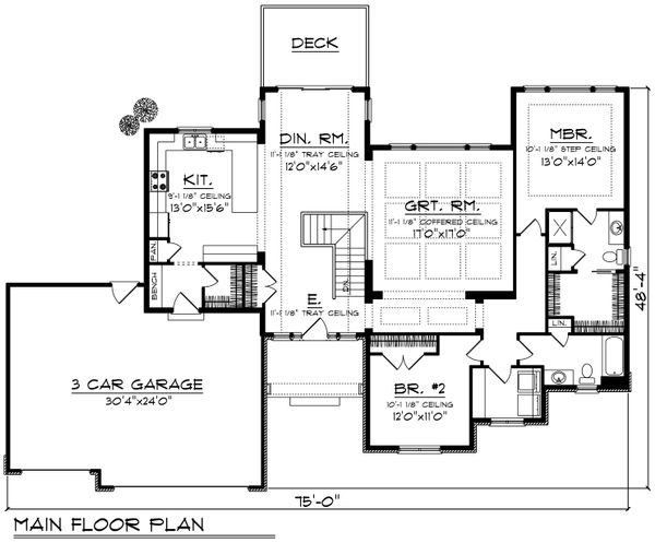 Ranch Floor Plan - Main Floor Plan Plan #70-1193