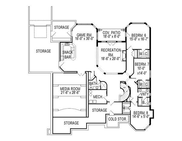 European Floor Plan - Lower Floor Plan Plan #920-61