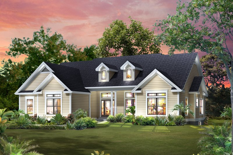 Architectural House Design - Traditional Exterior - Front Elevation Plan #57-613