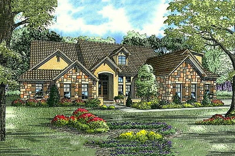 European Style House Plan - 5 Beds 4 Baths 3003 Sq/Ft Plan #17-207 Exterior - Front Elevation