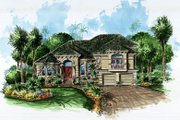 Mediterranean Style House Plan - 5 Beds 4 Baths 3609 Sq/Ft Plan #27-226 Exterior - Front Elevation