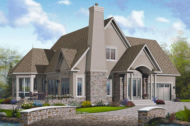 European Exterior - Front Elevation Plan #23-855