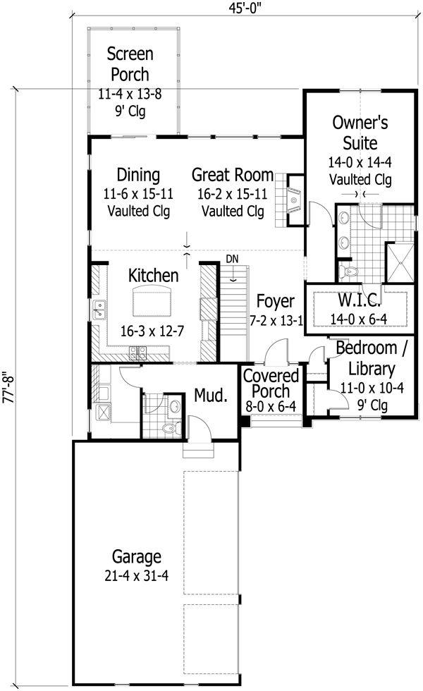 Craftsman Floor Plan - Main Floor Plan Plan #51-471