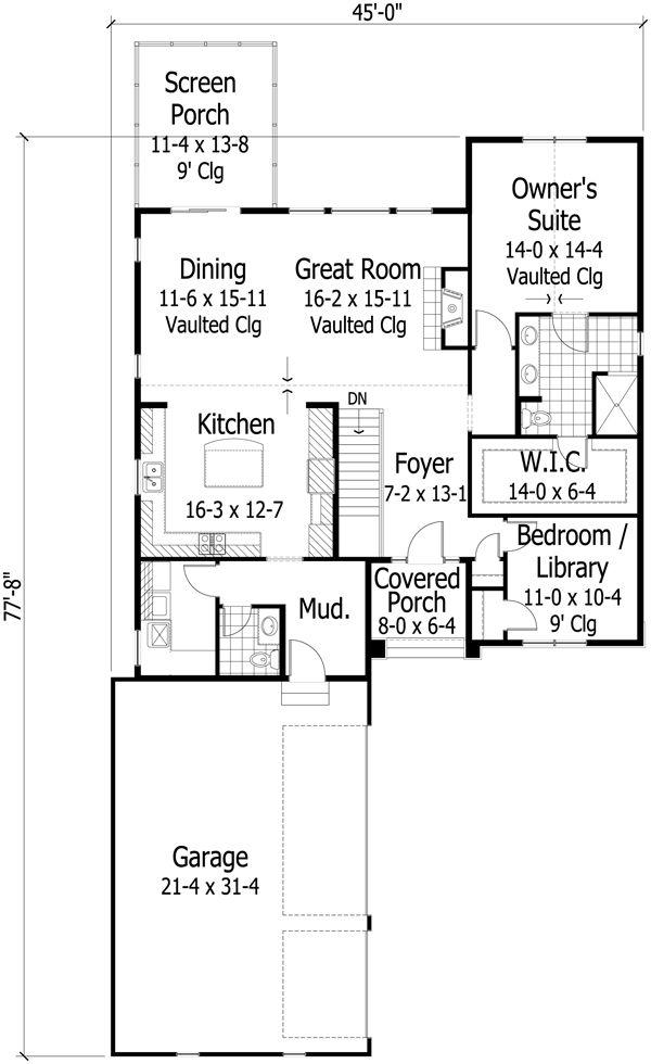Craftsman Floor Plan - Main Floor Plan Plan #51-471