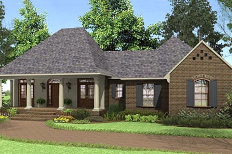 Southern Exterior - Front Elevation Plan #406-9609