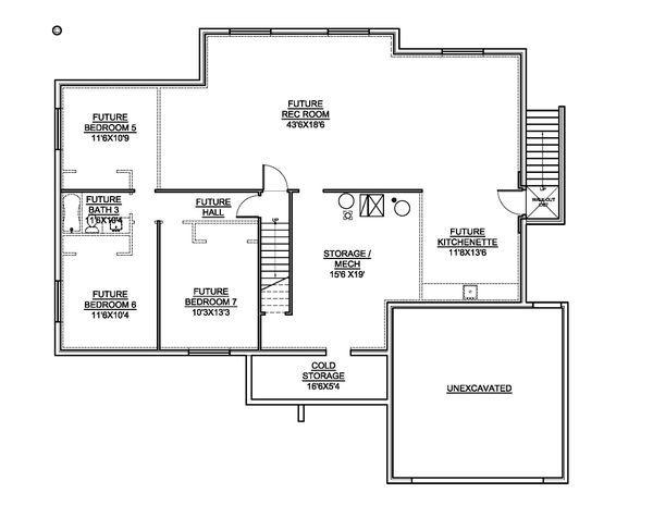Dream House Plan - Country Floor Plan - Lower Floor Plan #1073-23
