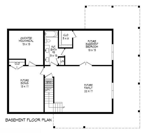 Cabin Floor Plan - Lower Floor Plan #932-250