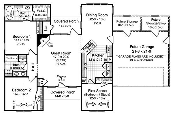 European Floor Plan - Main Floor Plan Plan #21-356