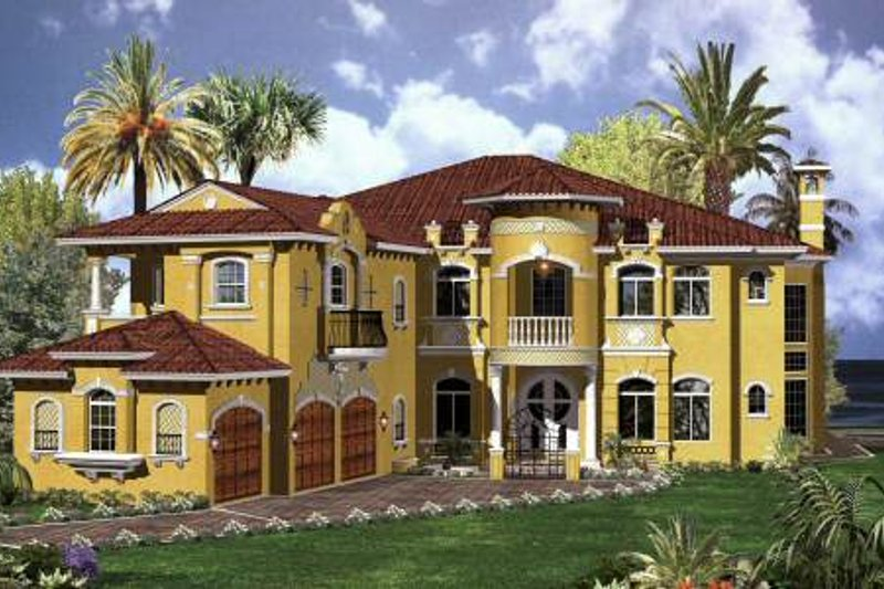 Mediterranean Style House Plan - 6 Beds 7.5 Baths 6714 Sq/Ft Plan #420-193 Exterior - Front Elevation