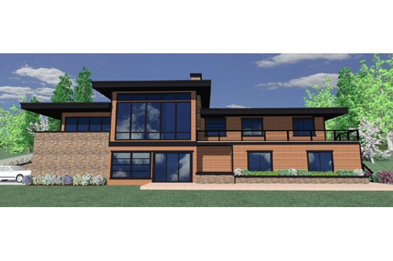 Modern Exterior - Front Elevation Plan #509-2