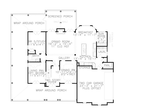 House Plan Design - Farmhouse Floor Plan - Main Floor Plan #54-379