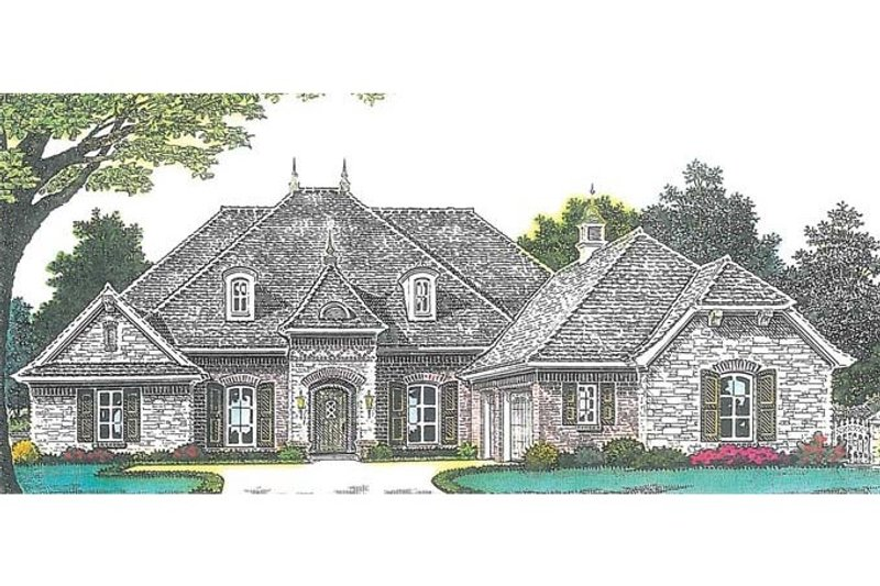 European Style House Plan - 4 Beds 3.5 Baths 2793 Sq/Ft Plan #310-994 Exterior - Front Elevation